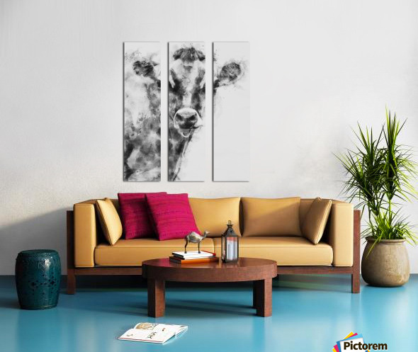 Dairy Cow Black and White Split Canvas print