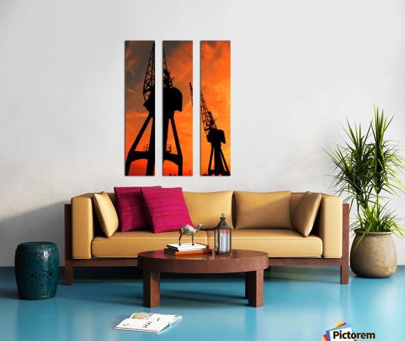 Sunset port tower cranes Split Canvas print