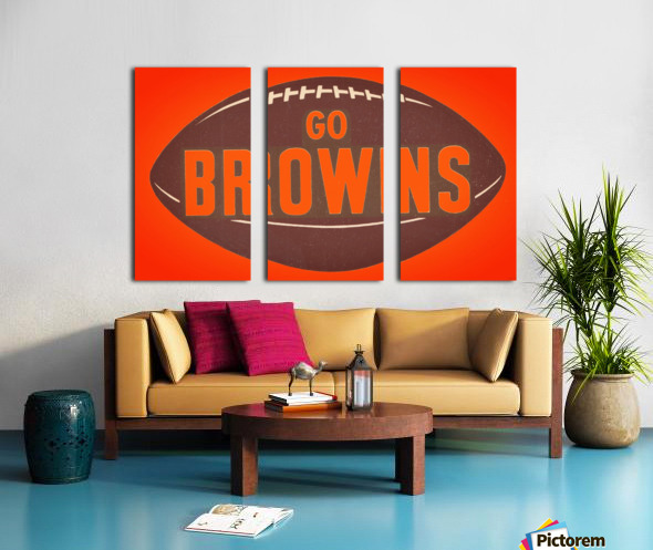 Vintage Cleveland Browns Football Art Split Canvas print