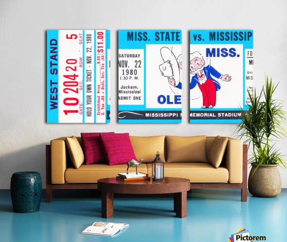 1980 Ole Miss vs. Miss State Football Ticket Stub Art Split Canvas print