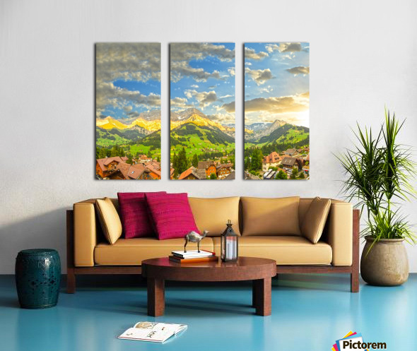 Golden Rays Across The Swiss Alps with Waterfalls Split Canvas print