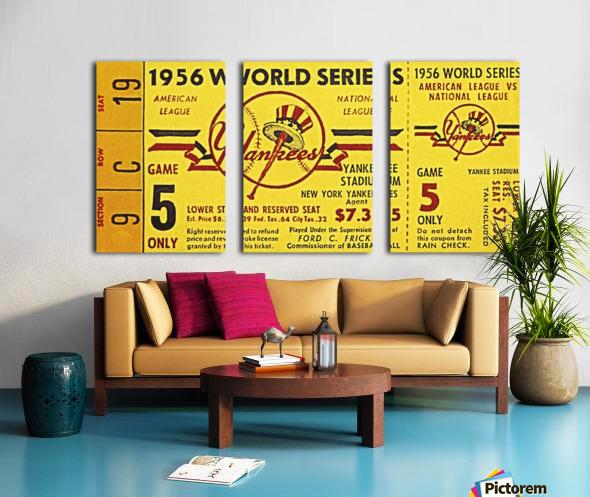 1956 World Series Perfect Game Ticket Stub Art Split Canvas print