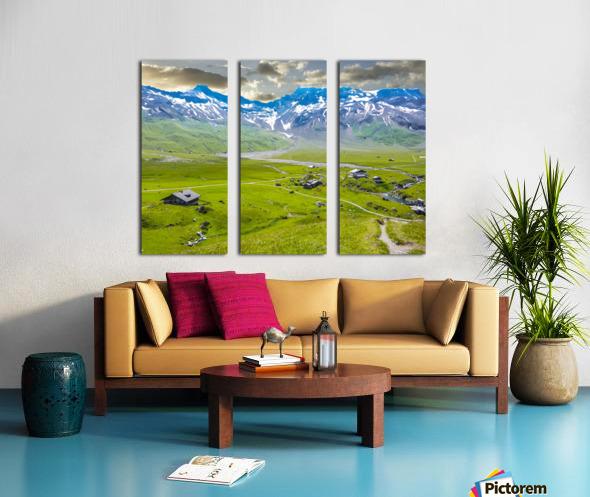 High Alps Village in Spring Switzerland Split Canvas print