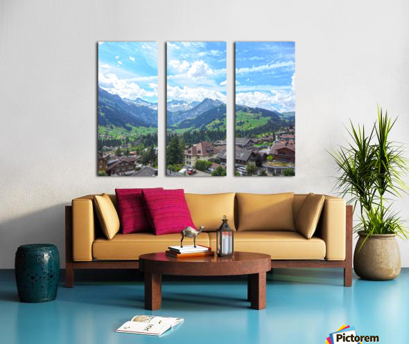Beautiful Day in the Swiss Alps Split Canvas print