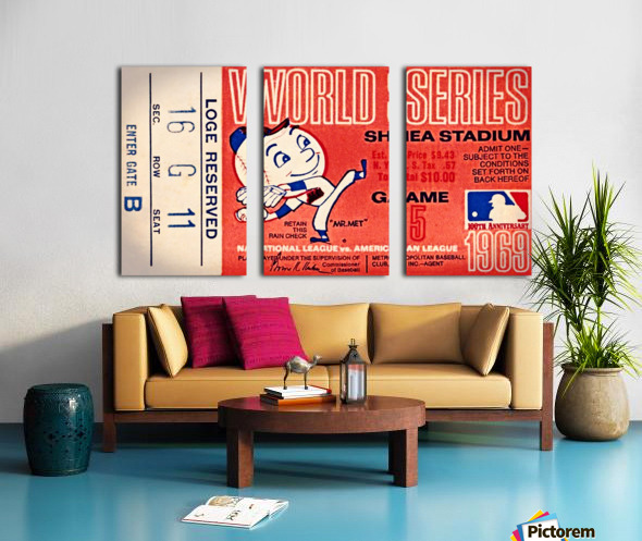 1969 New York Mets Game 5 Ticket Art Toile Multi-Panneaux