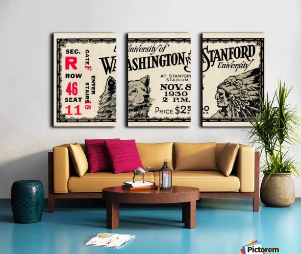 1930 Washington vs. Stanford Ticket Stub Art Split Canvas print