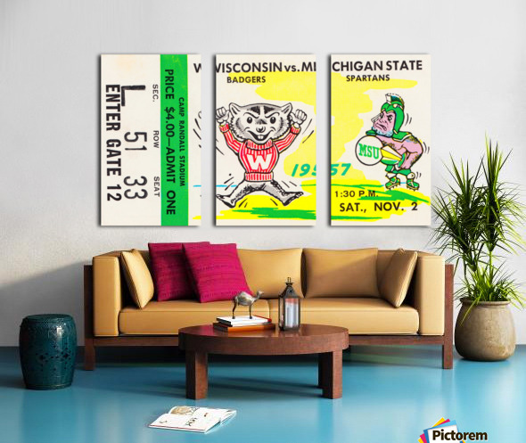 1957 Wisconsin vs. Michigan State Football Ticket Art Split Canvas print