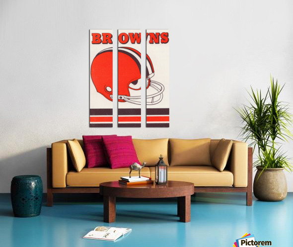 1975 Cleveland Browns Helmet Art Split Canvas print