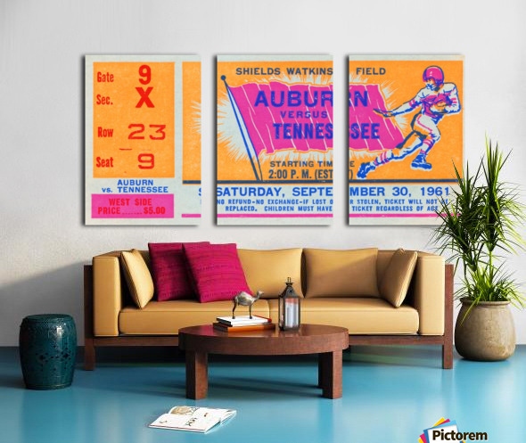 1961 Tennessee vs. Auburn Football Ticket Art Split Canvas print