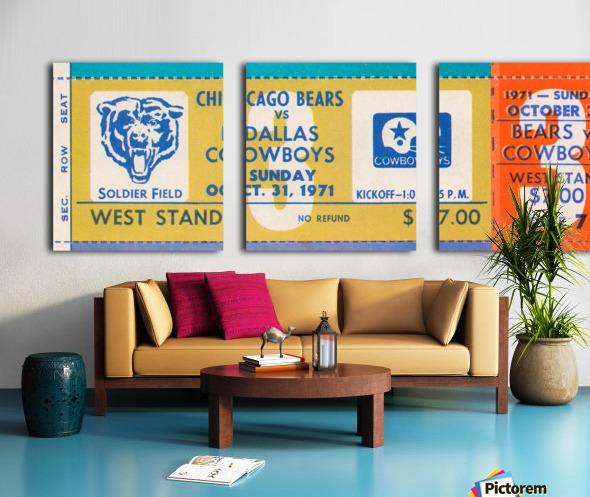 1971 Chicago Bears vs. Dallas Cowboys Ticket Art Split Canvas print