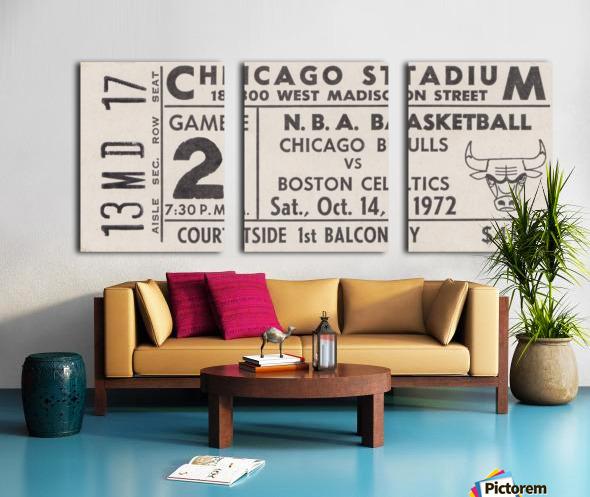 1972 Chicago Bulls vs. Boston Celtics Ticket Stub Art Split Canvas print