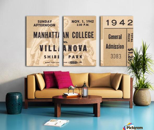 1942 Villanova vs. Manhattan Football Ticket Art Split Canvas print