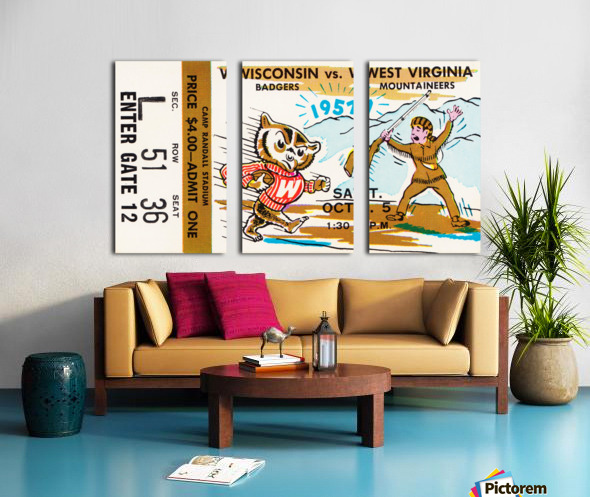 1957 Wisconsin vs. West Virginia Ticket Stub Art Split Canvas print