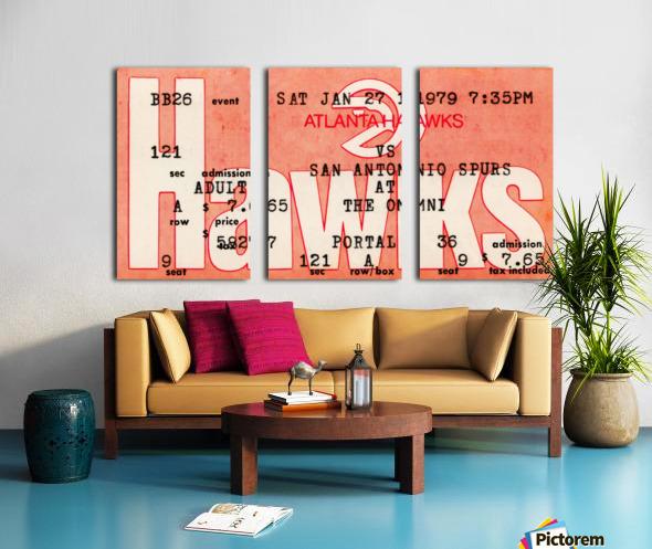 1979 Atlanta Hawks Ticket Stub Art Split Canvas print