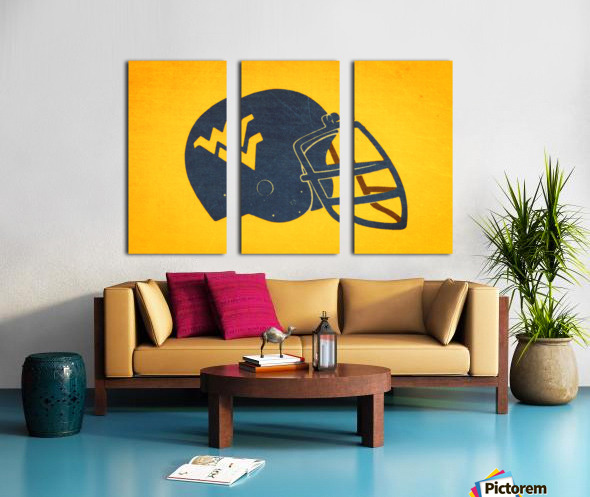 1985 West Virginia Mountaineers Football Helmet Art Split Canvas print