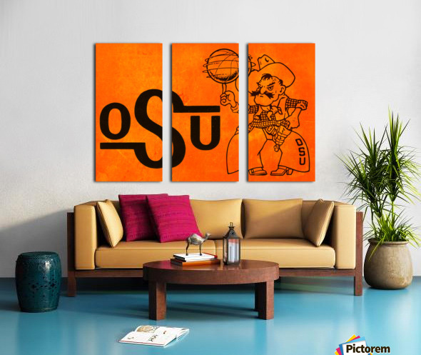 1985 Oklahoma State OSU Cowboys Pistol Pete Basketball Art Split Canvas print