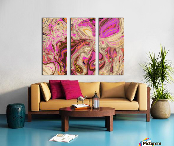 Paint Pour Tan and Pink Split Canvas print