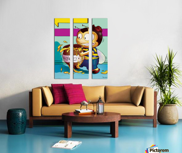 Be Careful with the Honey Buster Bee Split Canvas print