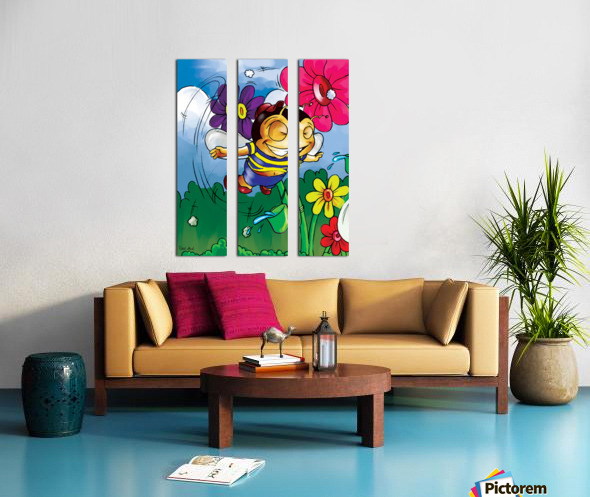 Happiness - Flower Power Buster Bee Split Canvas print