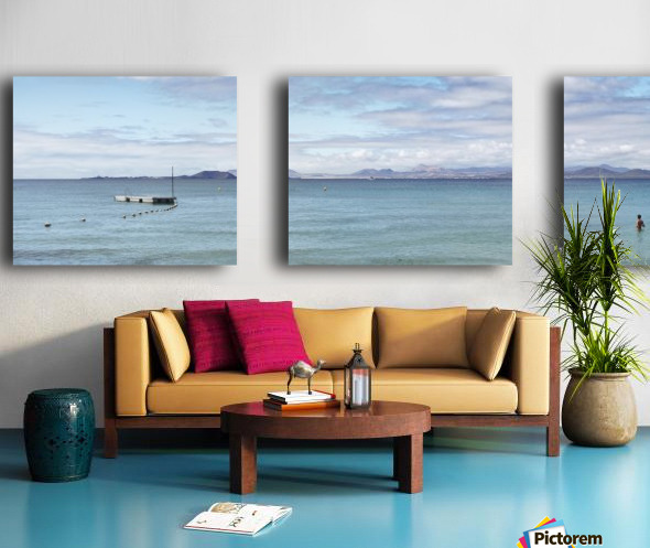 Panorama of Pontoon and Fuerteventura Split Canvas print