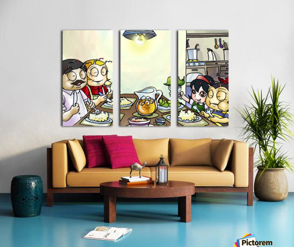 Dinner Time at the Bee House with the Family Split Canvas print
