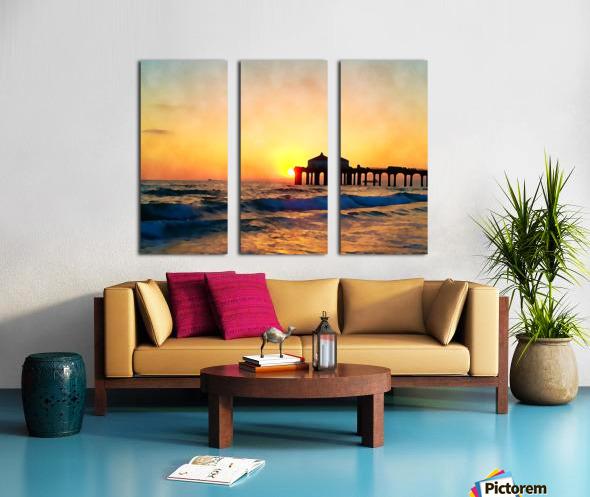 manhattan beach sunset wall art Split Canvas print