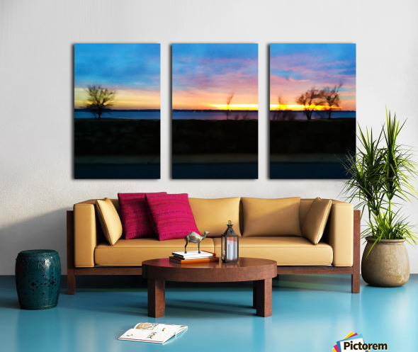 lake sunset 4 trees Split Canvas print