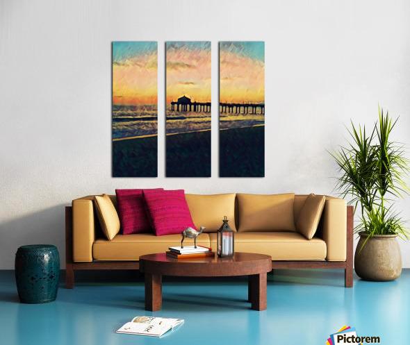 manhattan beach sunset Split Canvas print