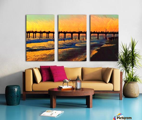 manhattan beach sunset art Split Canvas print