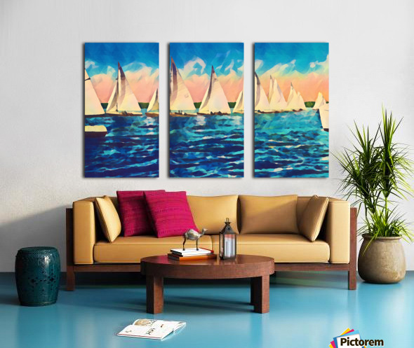 sail boats art Split Canvas print