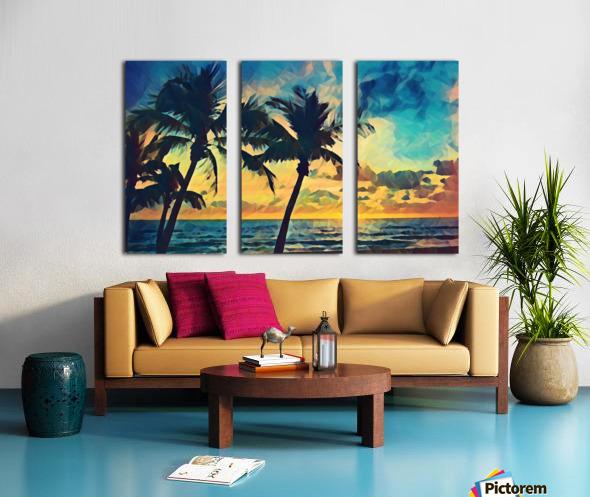 florida palm trees art Split Canvas print