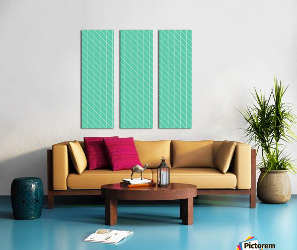 Aquamarine Checkers Pattern Split Canvas print