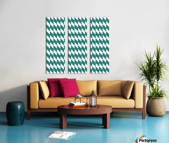 Dark Green Checkers Pattern Split Canvas print