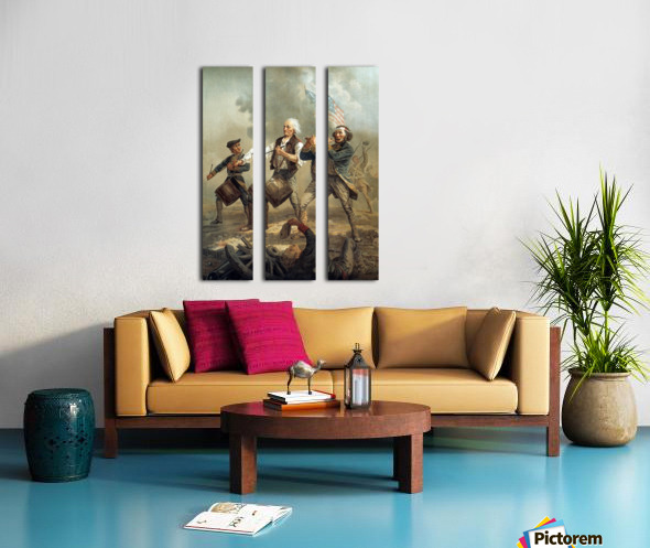 A painting of three men marching through a battle scene Split Canvas print
