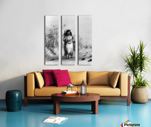 Indian Girl with Papoose Crossing Split Canvas print