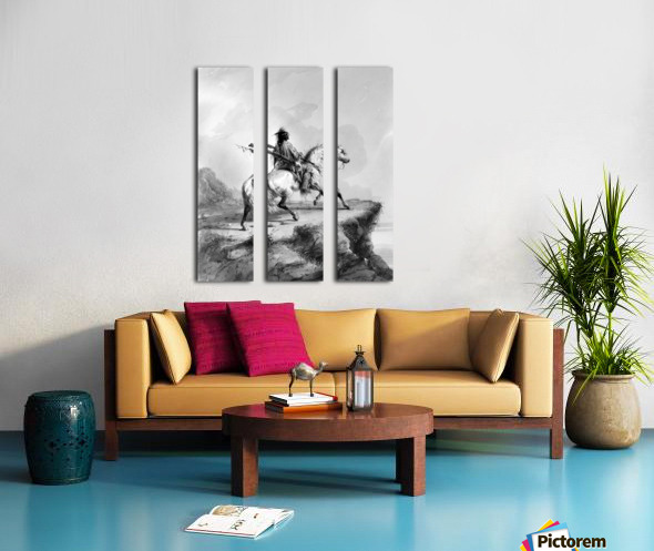Crow Indian on the Lookout Split Canvas print