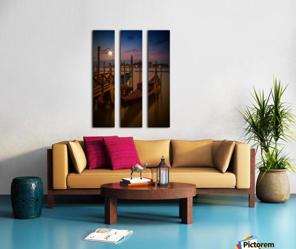 VENICE Gondolas during Blue Hour Split Canvas print