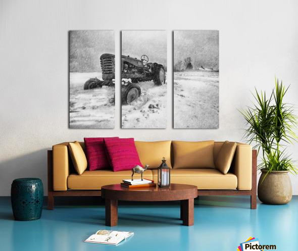 Winter Snow  Mountain Farm And Old Tractor Split Canvas print