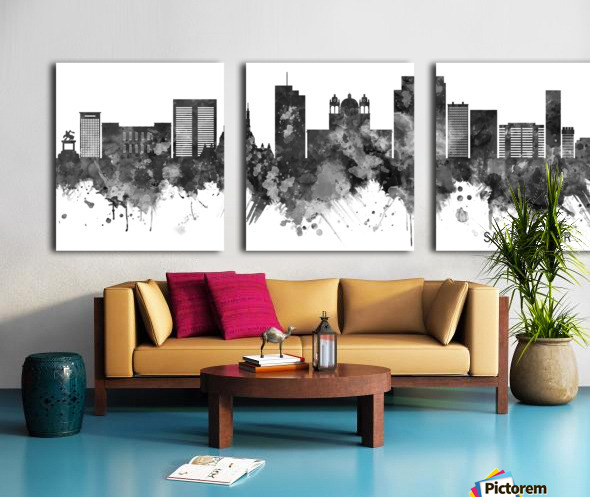 San Salvador Skyline BW Split Canvas print