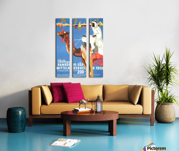 Hamburg-Sud Billige Mittelmeerreisen Original Poster Split Canvas print