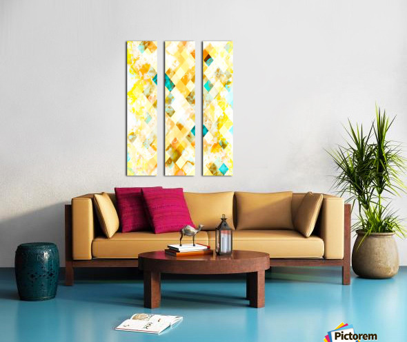 geometric pixel square pattern abstract in yellow brown blue Split Canvas print