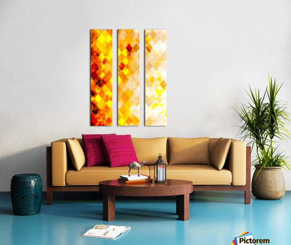 geometric pixel square pattern abstract in brown and yellow Split Canvas print
