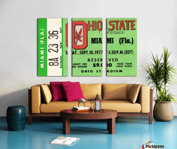 1977 Miami Hurricanes vs. Ohio State Football Ticket Canvas Split Canvas print