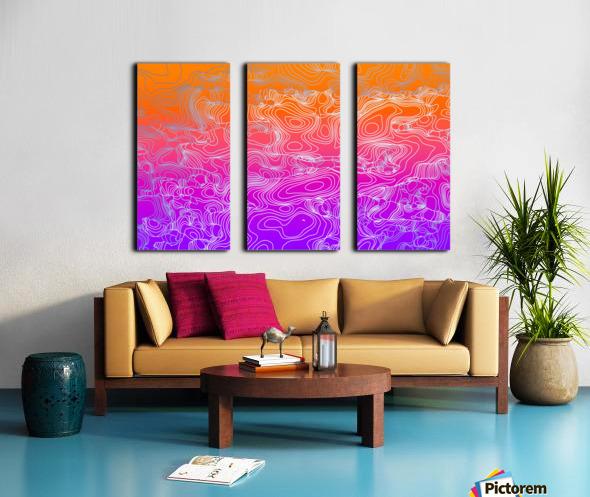 geometric fractal line abstract background in purple orange Split Canvas print