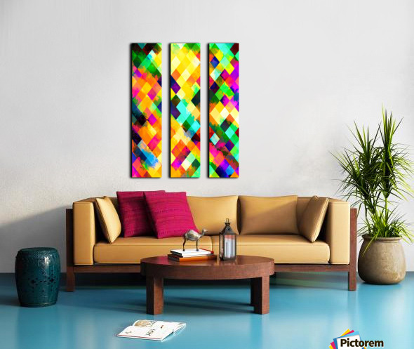 geometric square pixel pattern abstract background in yellow blue green pink orange Split Canvas print