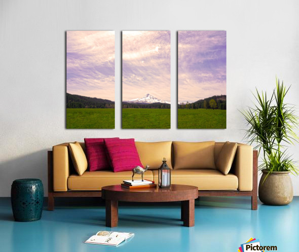 Mount Hood Bathed in Golden Rays at Sunset Split Canvas print