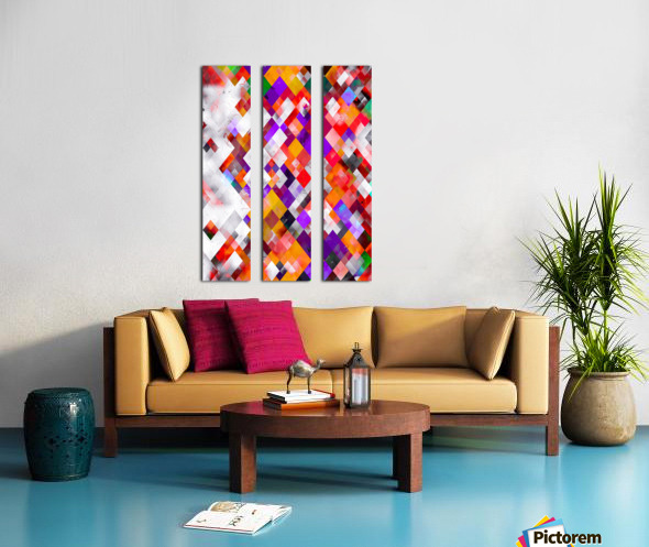 colorful geometric square pixel pattern abstract art in orange red purple Split Canvas print