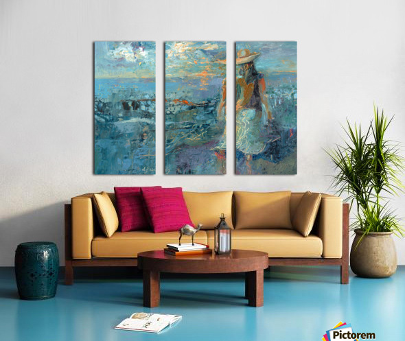 Woman on a Twilight Beach Split Canvas print