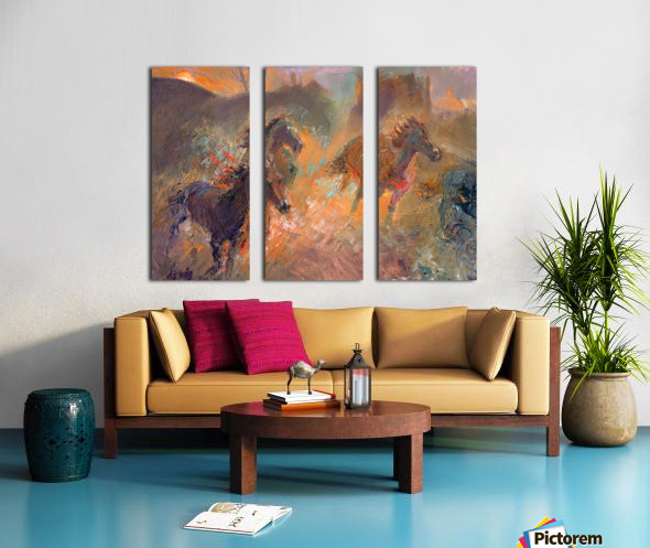 Wild Horses Sun Dust Split Canvas print