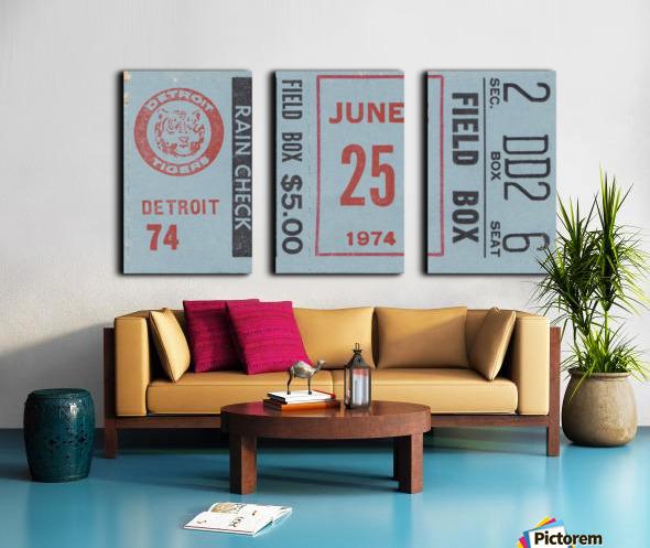 1974 Detroit Tigers Field Box Ticket Split Canvas print
